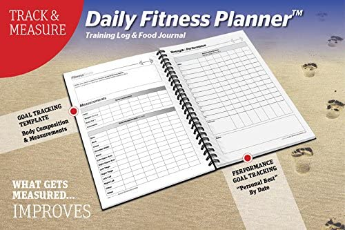 SaltWrap The Daily Fitness Planner - Gym Workout Log and Food Journal - with Daily and Weekly Pages, Goal Tracking Templates, Spiral-Bound, 7 x 10 inches 8