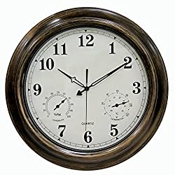 Outdoor Clocks, SkyNature 18 Inch Large Indoor Outdoor Wall Clock Waterproof with Temperature and Humidity