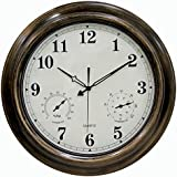 SkyNature 18 inch Metal Outdoor Clocks with Temperature & Humidity