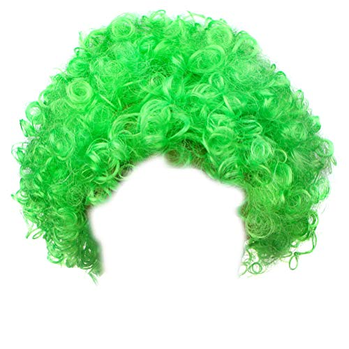 IETANG Afro Fluffy Wig Hair Curl Wigs Synthetic Fiber Hairpiece - Party Disco Clown Hair Football Fan Adult Child Costume Wig (Green) -