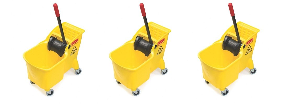 Rubbermaid Commercial Tandem Bucket and Wringer Combo, 31-Quart Capacity, 22.63-Inch Length x 13.25-Inch Width x 32.25-Inch Height, Yellow (FG738000YEL) (3 PACK)
