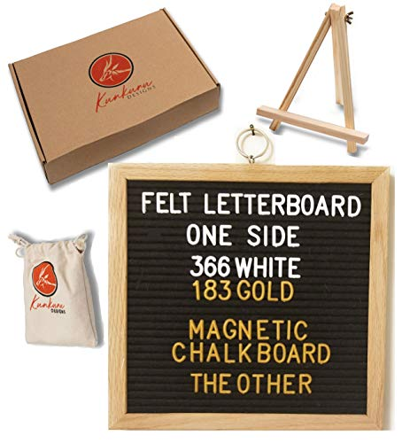 Black Felt Letterboard | Chalkboard | Magnetic Display Board | Triple Function Word Board 10X10 Inch with Oak Frame | Includes Stand and 549 Pre-Cut White and Gold Characters in Canvas Bag ()