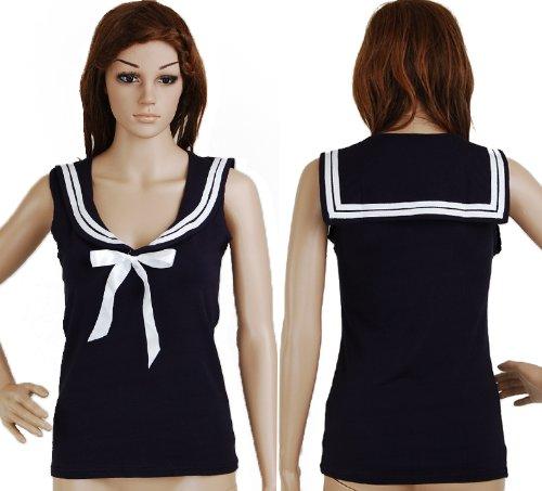 Shirt-Navy-Blue-Sailor-Nautical-50s-Pin-up-Vintage-Retro-Rockabilly-Womens-Clothing-Top-Blouse-Xl