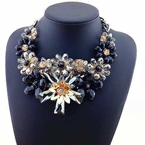 CHIC Super Luxury Necklace Supplement Garden Of Colorful Crystal Flowers With Splendid Creation Statement Necklace Pendants