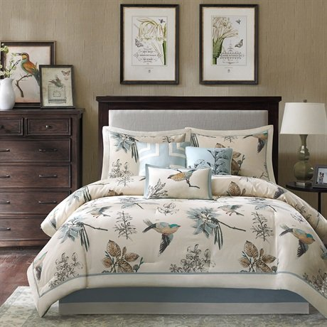 Madison Size Comforter Bed - Khaki, Jacquard 7 – Microfiber Bedroom