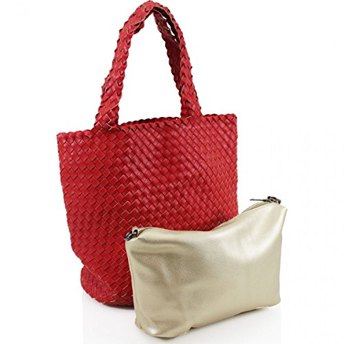 LeahWard Gewebte Tasche der Frauen innerhalb einer Tasche Nette 2 in 1 Taschen-Einkaufstaschen für Schulferien 5011 (GRAU) GRAU dW2dqw04