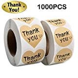 Thank You Stickers Roll 1000pcs Adhesive Labels Kraft Paper with Black Hearts, Decorative Sealing Stickers for Christmas Gifts, Wedding, Party: more info