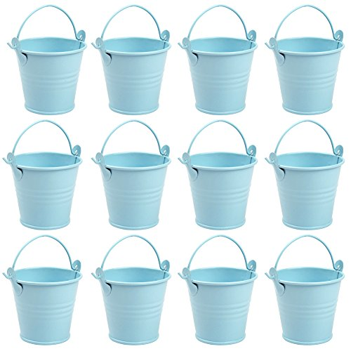 AerWo Mini Metal Bucket Tin Candy Box Buckets Souvenirs Gift Pails for Bridal Wedding Party Baby Showers (Blue, 12pcs)
