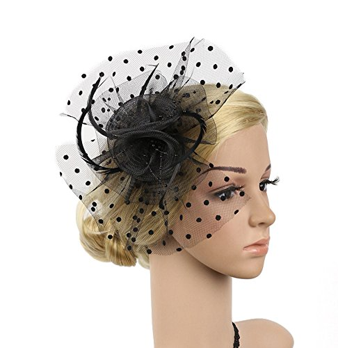 (Urban CoCo Women's Feather Beads Net and Veil Fascinator Hair Clip Hat for Cocktail Party (Black))