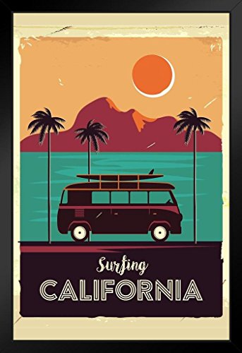 - Surfing California Coastline Vintage Van Palm Trees Art Print Framed Poster 14x20 inch