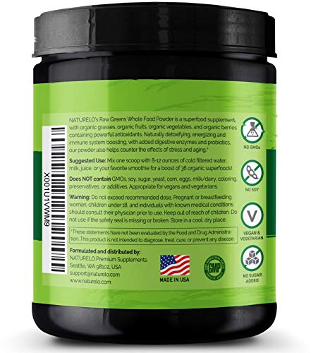 NATURELO Raw Greens Superfood Powder - UNSWEETENED - Boost Energy, Detox, Enhance Health - Organic Spirulina & Wheat Grass - Whole Food Vitamins from Fruit & Vegetable Extracts - 30 Servings