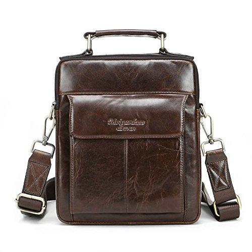 Men Leather Crossbody Bag Shoulder Satchel Messenger Bags Small Briefcase Handbag (Dark Brown)