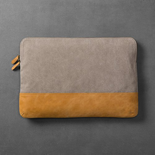Hearth & Hand with Magnolia Canvas & Leather Laptop Pouch Grey/Tan Joanna Gaines Collection Hearth