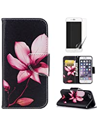 For iphone 6/6S Case,OYIME [Colorful Painting] Elegant Pattern Design Bookstyle Leather Wallet Case with Screen Protector Kickstand Card Slots Function Holster Full Body Protection Bumper Magnetic Closure Flip Cover with Wrist Lanyard - Pink Lotus