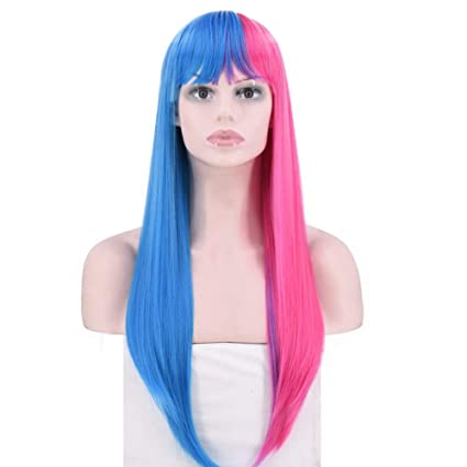Zzyq Azul + Rosa (doble Color) Larga Peluca De Pelo Liso Anime Cosplay/