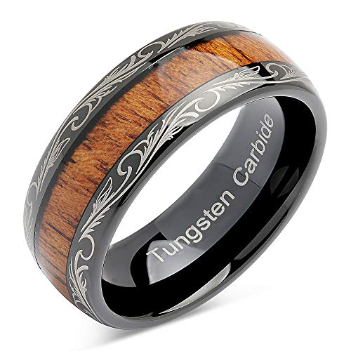 100S JEWELRY Tungsten Rings for Men Wedding Band Koa Wood Inlaid Dome Edge Comfort Fit Size 6-16 (9.5) ()