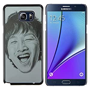 KLONGSHOP // Cubierta de piel con cierre a presión Shell trasero duro de goma Protección Caso - Retrato hombre que ríe Dientes - Samsung Galaxy Note 5 5th N9200 //