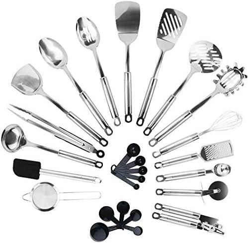 KRONENKRAFT Set d'ustensiles de cuisine en acier inoxydable de 26 pièces,accessoires de cuisine, set de cuisson , ensemble complet d'accessoires de cuisine
