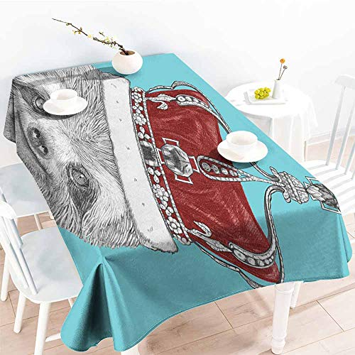 Onefzc Fashions Rectangular Table Cloth,Sloth Queen Size Cute Hand Drawn Animal with Imperial Ancient Crown King of Laziness Theme,High-end Durable Creative Home,W52x70L Aqua Burgundy Grey