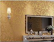 Vosarea 3D Victorian Damask Wallpaper Embossed Wallpaper Rolls for tv Background Living Room Bedroom(Golden)
