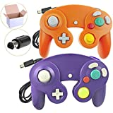 Poulep 2 Packs Classic Wired Gamepad Controllers for Wii Game Cube Gamecube Console(Orange and Purple)