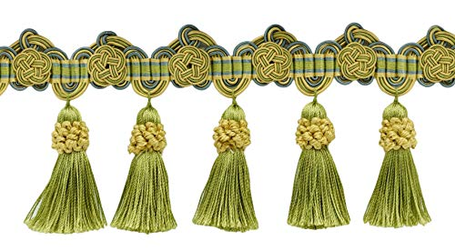 Rosette Trim - DÉCOPRO 5 Yard Package of 3.75 Inch Gold, Green, Blue Tassel Fringe Trim with Rosettes|Style# TFAX0375 (21765)|Color: Mermaid - LX04 (36 Ft / 11 Meters)