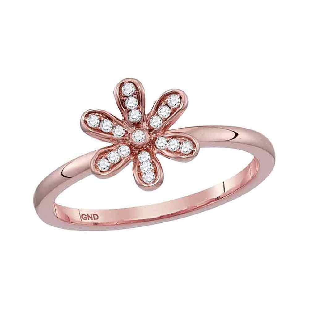 Womens 10K Rose Gold Band Style Ring Flower Diamond Stackable Enhancer Ring 1/8 CTW