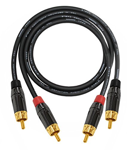 3 Foot – High-Definition Audio Interconnect Cable Pair CUSTOM MADE By WORLDS BEST CABLES – using Mogami 2964 wire and Amphenol ACPL Black Chrome Body, Gold Plated RCA Connectors by WORLDS BEST CABLES