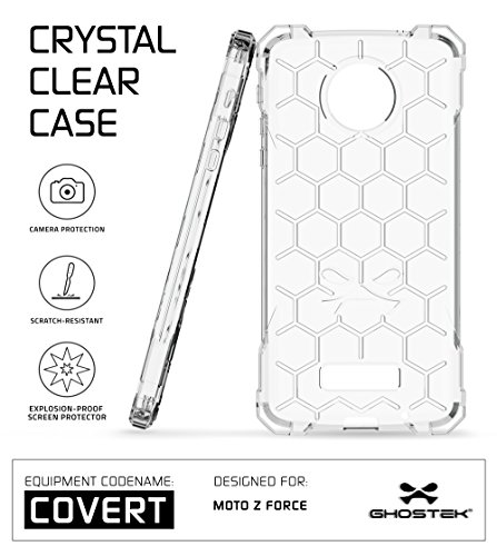 Moto Z Force Case, Ghostek Covert Series for Motorola Moto Z Force Premium Hybrid Impact Protective Armor Case Cover | Clear TPU | Explosion-Proof Screen Protector | Ultra Fit | Spring Corners (Clear)