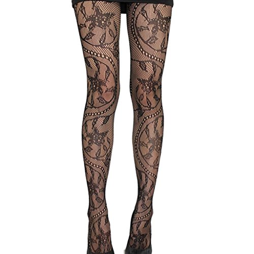 Appoi Women Sexy Lingerie net Lace Top Garter Belt Thigh Stocking High Waist Tights Fishnet Stockings Pantyhose (Black) - Net Lace Top
