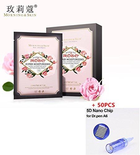 Morning Skin Super Moisturizing Bulgarian Damascus Rose Hydrating Oxygenated Face Masks 25ml x 6 Pieces/Box & Dr. Pen A6 Cartridges 50PCS (Rose Face Masks + 5D Nano Cartridges, Blue)