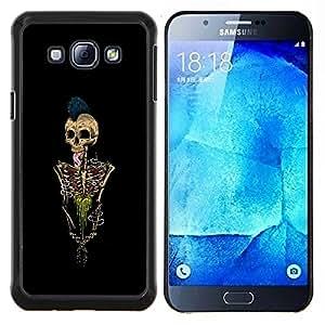 "Be-Star Único Patrón Plástico Duro Fundas Cover Cubre Hard Case Cover Para Samsung Galaxy A8 / SM-A800 ( Paint Esqueleto Punk Rock Cráneo Negro"" )"