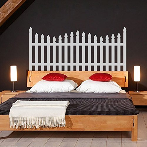 Picket Fence Headboard Decal For Bedroom & Headboard Decor F(Large,Bed Headboard-White) Paint Picket Fence