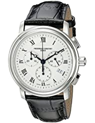 Frederique Constant Mens FC292MC4P6 Persuasion Stainless Steel Chronograph Watch With Black Leather Strap