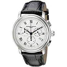 Frederique Constant Men's FC292MC4P6 Persuasion Stainless Steel Chronograph Watch With Black Leather Strap