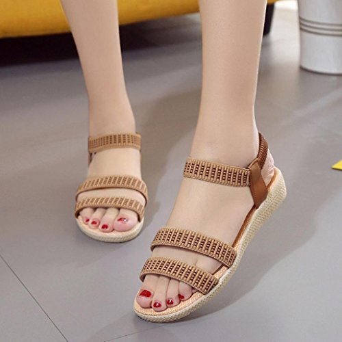 Spiaggia Elasticity Scarpe Estive Peep Ladies Bohemia Libero Sandali Fashion Sandali Per Il Marrone Toe Clode Piatti Womens Da Girls Tempo w0UXTZq0