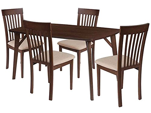 Flash Furniture Bromley 5 Piece Walnut Wood Dining Table Set with Rail Back Wood Dining Chairs - Padded Seats - Beechwood Fan Back Chair