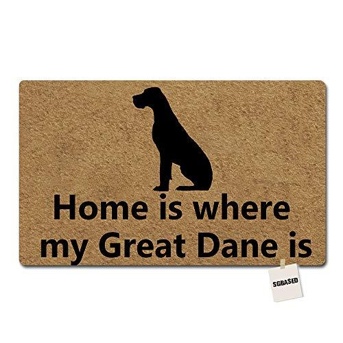 SGBASED Door Mat Welcome Mat Home is Where The Great Dane is Mat Washable Floor Entrance Outdoor & Indoor Decor Rug Rubber Non Slip Doormat Non-Woven Fabric (23.6 X 15.7 inches) (Great Dane Doormat)