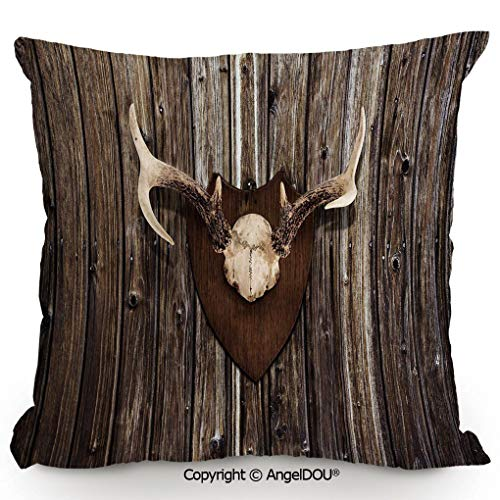 AngelDOU Square Cotton Linen Pillow Cushion,Rustic Home Cottage Cabin Wall with Antlers Hunting Lodge Country House Trophy Decorative,Living Room Sofa car Bed Back Cushion pillowcase19.6x19.6 inches