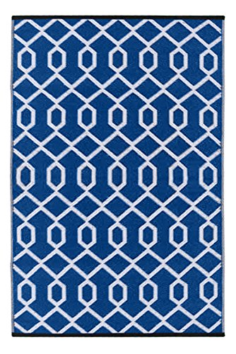 Green Decore Valencia Outdoor/Plastic/Reversible Eco Rug, 90 cm L x 150 cm W, Blue/White by Green Decore