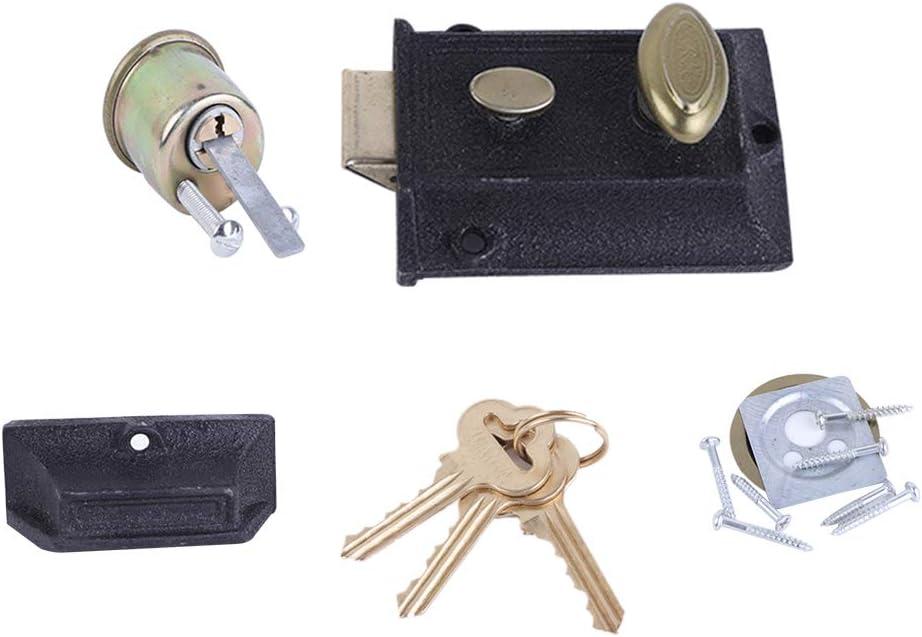 Yardwe Cerradura de la puerta exterior Cerradura de hierro fundido de la primavera del vintage Cerradura antirrobo duradera con llaves