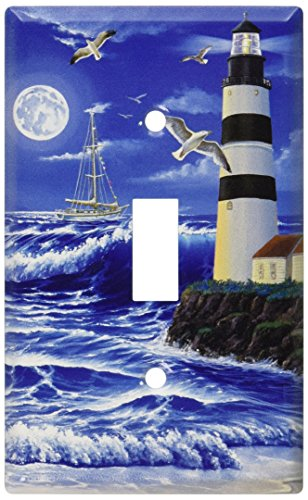 Lighthouse Light Switch Covers - Art Plates - Lighthouse at Night Switch Plate - Single Toggle