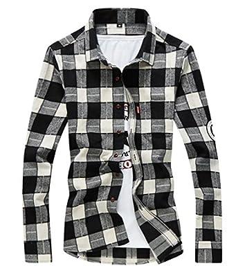 Earnest Men's Long Sleeve Button Down Cotton Plaid Dress Shirts