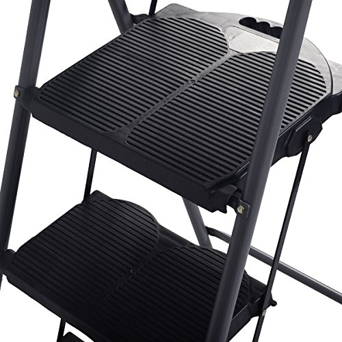 onestops8 HD 3 Step Ladder Platform Folding Stool 330 LBS Capacity Space Saving w/Tray by onestops8 (Image #4)