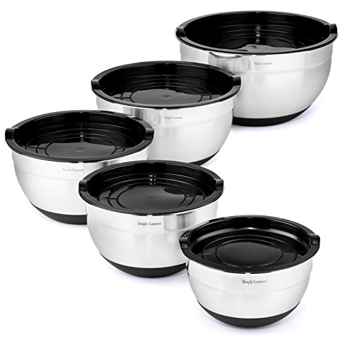 Premium Mixing Bowls with Lids - by Simply Gourmet. Stainless Steel Mixing Bowl Set Contains 5 Bowls with Airtight Lids, Non-Slip Bottoms, and a Flat Base for Stable Mixing. Bowls Nest for Storage … by Simply Gourmet (Image #1)'