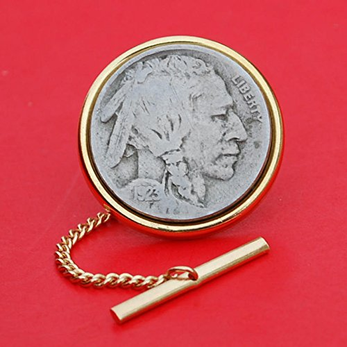 US 1923 Indian Head Buffalo Nickel Gold Plated Tie Tac Tack BRAND NEW