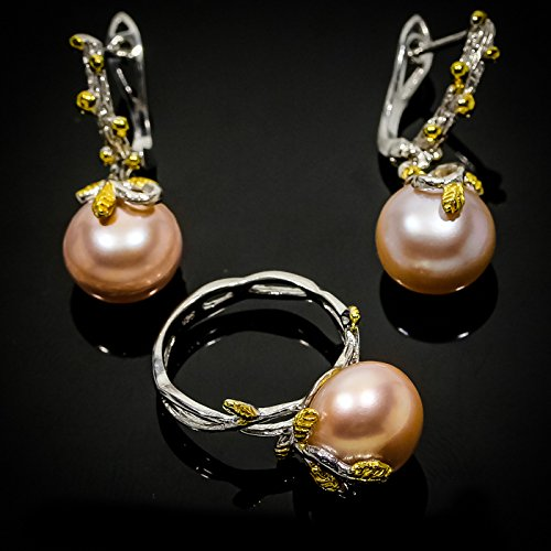 Charming Design Natural Pearl 14mm. 925 Sterling Silver Ring and Earrings Size 7 8 9 us ()