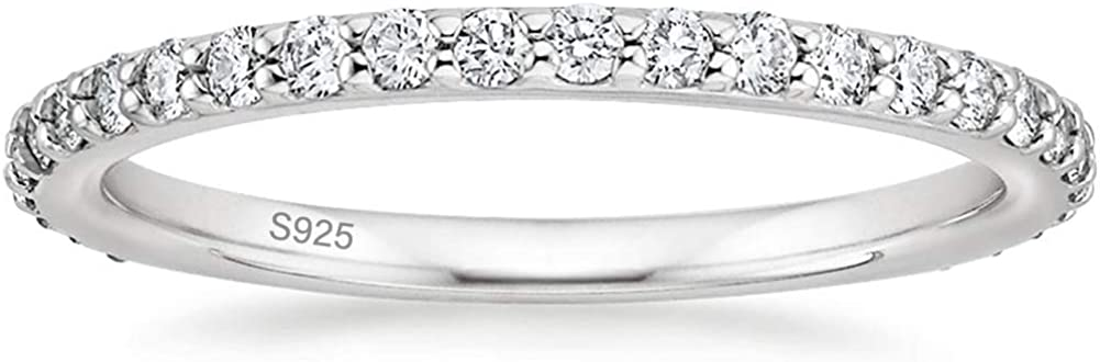 EAMTI 2mm 925 Sterling Silver Wedding Band Cubic Zirconia Full Eternity Stackable Engagement Ring Size 3-13