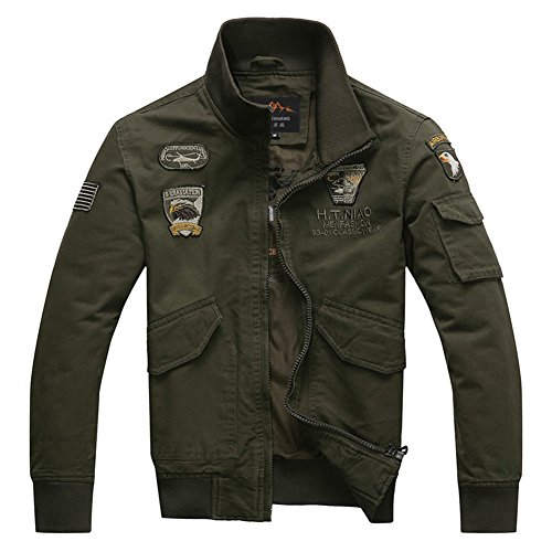 H.T.Niao Jacket8203C1 Men 's Air Force One Collar Jackets(Army Green,Size XL)
