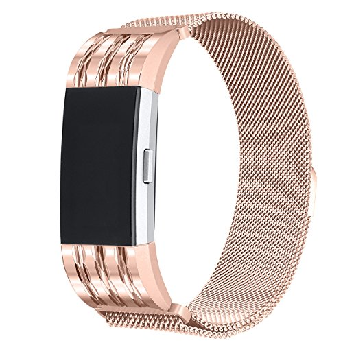 bayite Milanese Loop Bands Compatible Fitbit Charge 2, Stainless Steel Magnet Lock Metal, Rose Gold with Rhombus Pattern Large